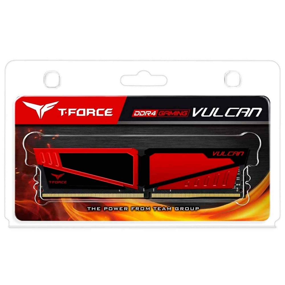 MEMORIA TEAM GROUP T-FORCE VULCAN 8GB (1X8) 2666MHZ DDR4 VERMELHO